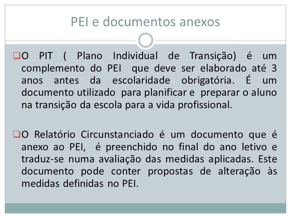 PEI e documentos anexos  O PIT ( Plano Individual de Transição) é um complemento do PEI que deve ser elaborado até 3 anos antes da escolaridade obrig