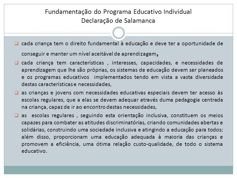 Fundamentação do Programa Educativo Individual Declaração de Salamanca  cada criança tem o direito fundamental à educação e deve ter a oportunidade d