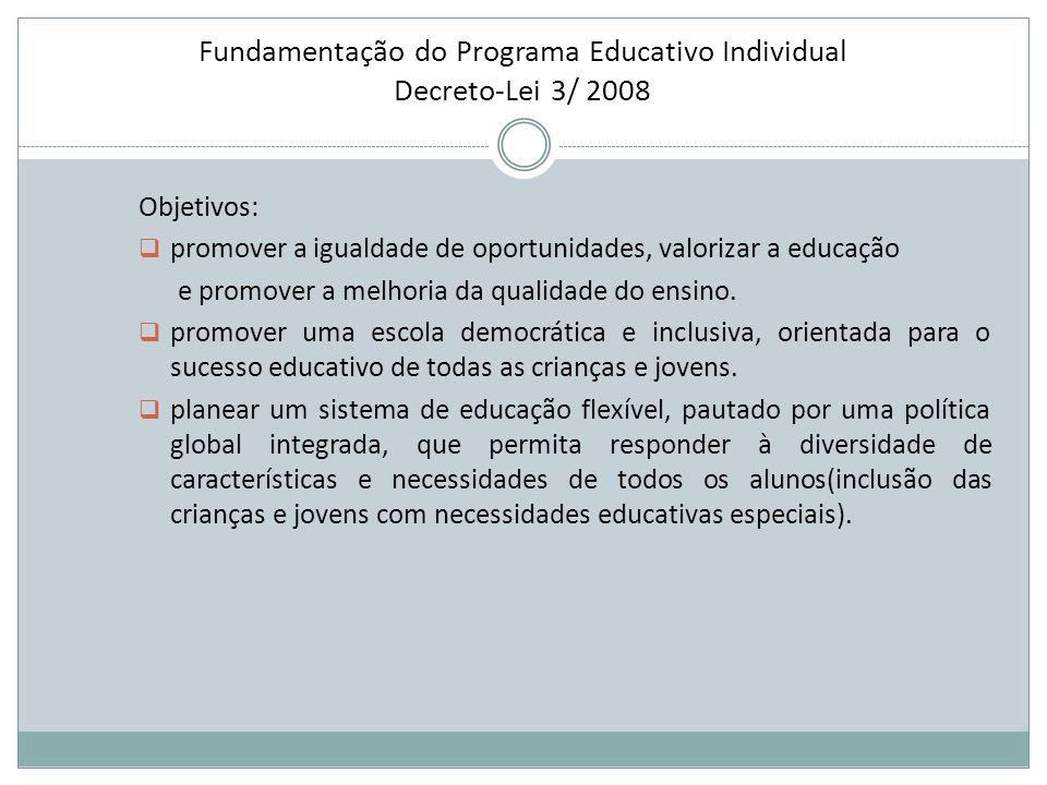 Fundamentação do Programa Educativo Individual Decreto-Lei 3/ 2008 Objetivos:  promover a igualdade de oportunidades, valorizar a educação e promover