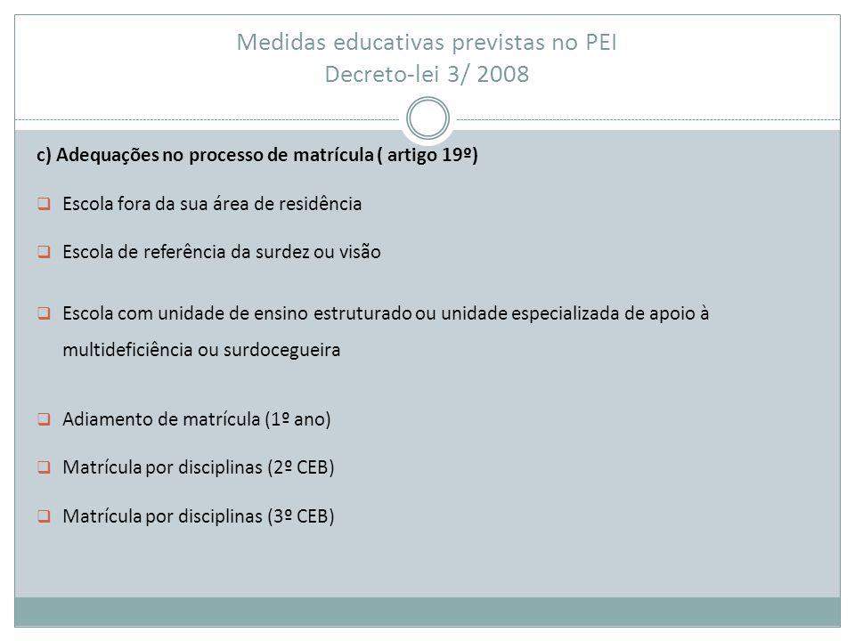 Medidas educativas previstas no PEI Decreto-lei 3/ 2008 c) Adequações no processo de matrícula ( artigo 19º)  Escola fora da sua área de residência 