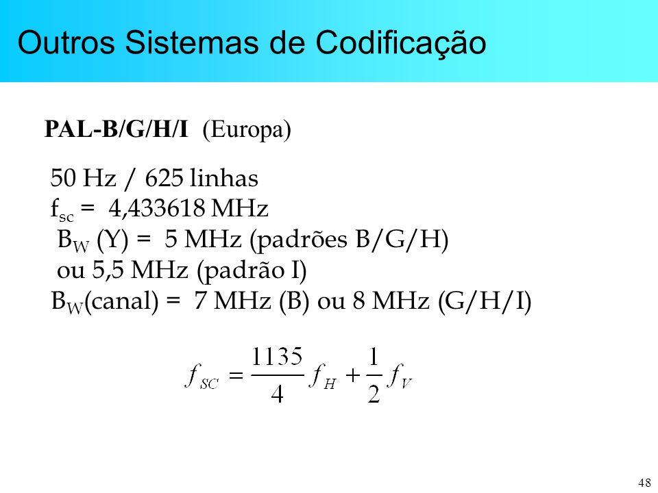 48 Outros Sistemas de Codificação PAL-B/G/H/I (Europa) 50 Hz / 625 linhas f sc = 4,433618 MHz B W (Y) = 5 MHz (padrões B/G/H) ou 5,5 MHz (padrão I) B