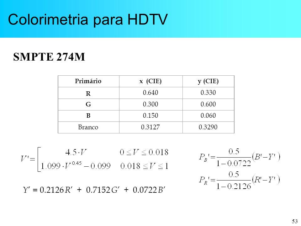 53 Colorimetria para HDTV Primáriox (CIE)y (CIE) R 0.6400.330 G 0.3000.600 B 0.1500.060 Branco0.31270.3290 SMPTE 274M Y ' = 0.2126 R ' + 0.7152 G ' +