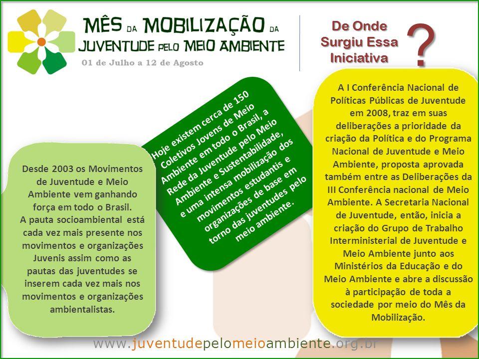 www.juventudepelomeioambiente.org.br Por Que Participar Há 51 milhões de jovens entre 15 a 29 anos no país, quase 1/3 da população brasileira na faixa dos 15 aos 17, apenas 48% estão matriculados no ensino médio.