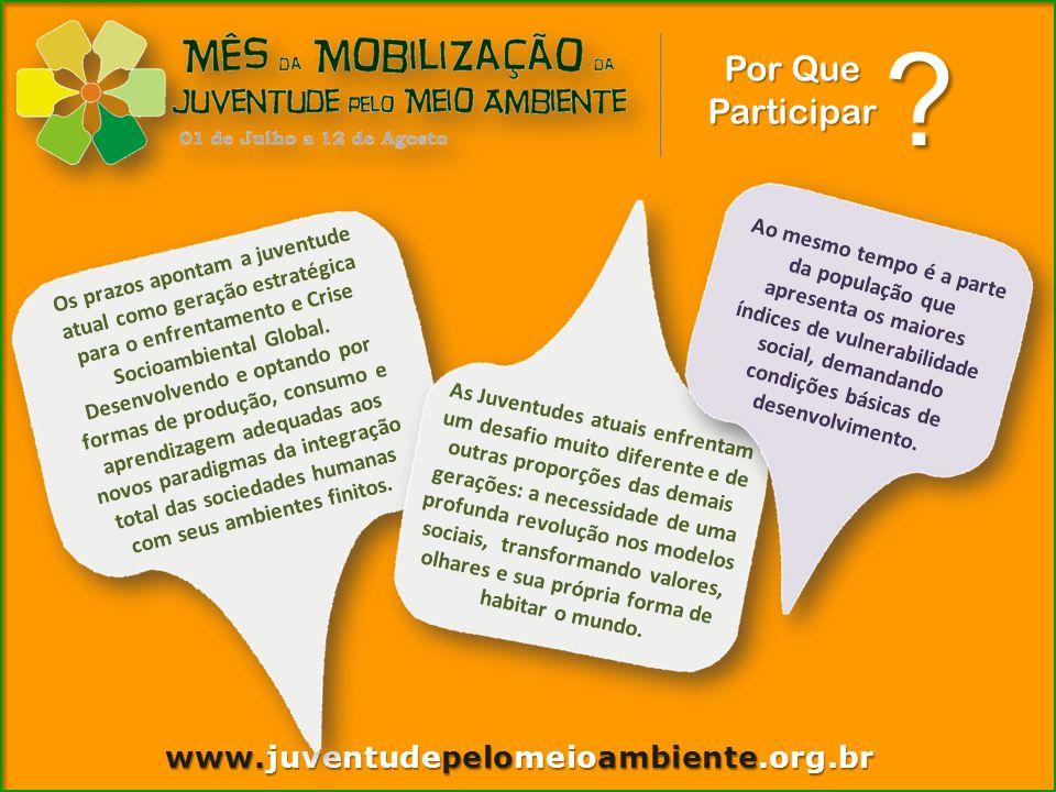 www.juventudepelomeioambiente.org.br Por Que Participar Os prazos apontam a juventude atual como geração estratégica para o enfrentamento e Crise Socioambiental Global.