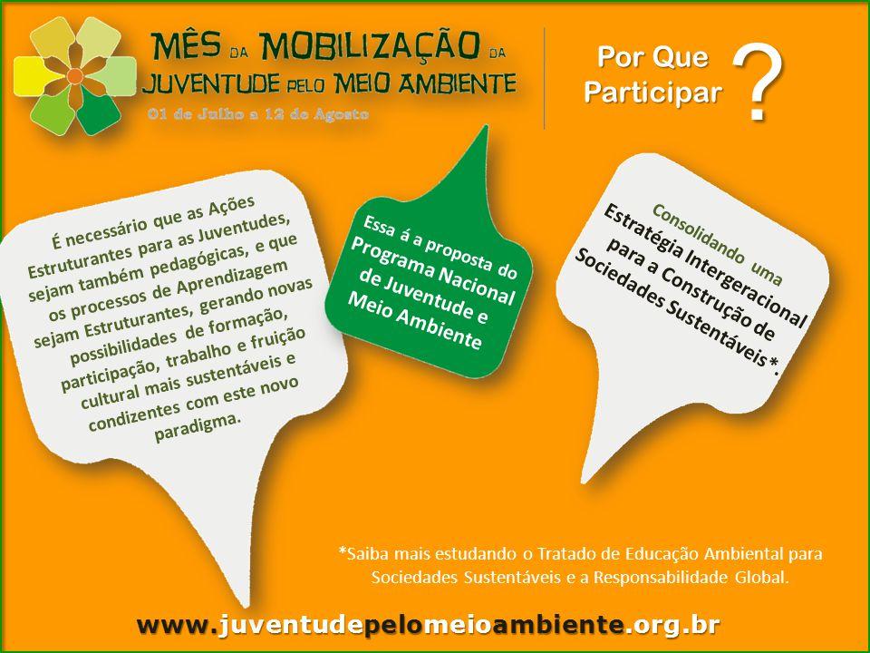Como Participar www.juventudepelomeioambiente.org.br 1.