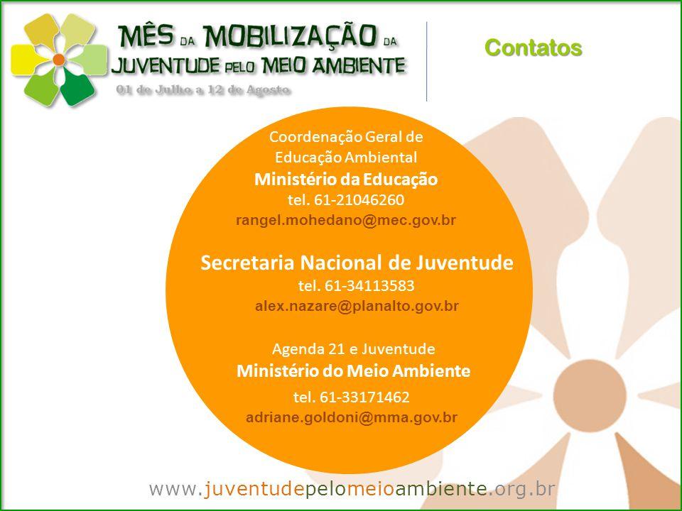 Contatos www.juventudepelomeioambiente.org.br Coordenação Geral de Educação Ambiental Ministério da Educação tel.