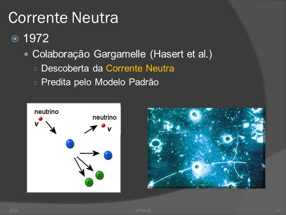 Corrente Neutra  1972  Colaboração Gargamelle (Hasert et al.) ○ Descoberta da Corrente Neutra ○ Predita pelo Modelo Padrão 2010SPRACE11