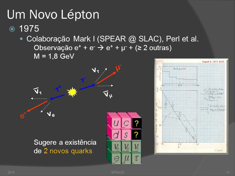 Um Novo Lépton  1975  Colaboração Mark I (SPEAR @ SLAC), Perl et al. Observação e + + e -  e + + μ - + (≥ 2 outras) M = 1,8 GeV Sugere a existência