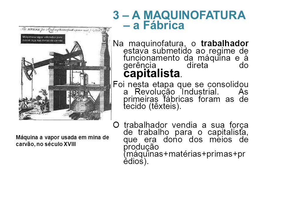 3 – A MAQUINOFATURA – a Fábrica Na maquinofatura, o trabalhador estava submetido ao regime de funcionamento da máquina e à gerência direta do capitali