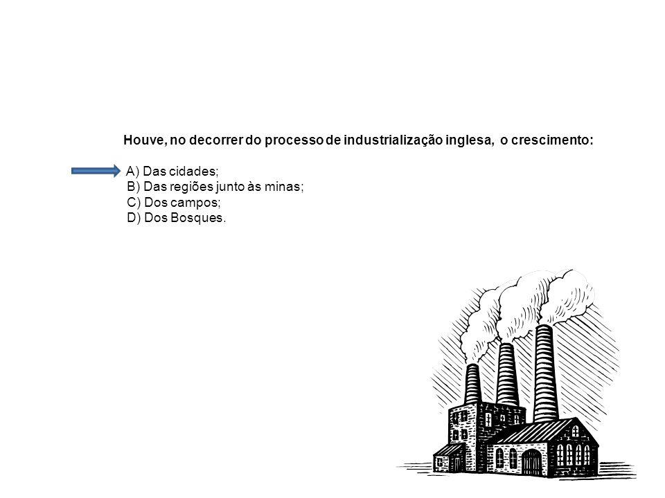 Houve, no decorrer do processo de industrialização inglesa, o crescimento: A) Das cidades; B) Das regiões junto às minas; C) Dos campos; D) Dos Bosque