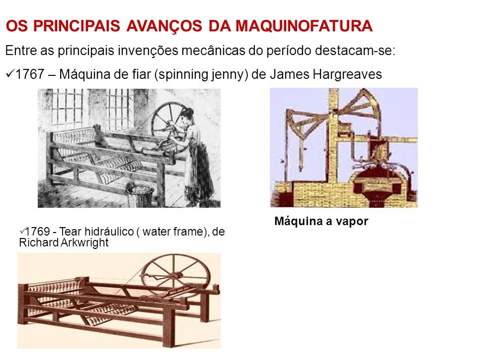 OS PRINCIPAIS AVANÇOS DA MAQUINOFATURA Entre as principais invenções mecânicas do período destacam-se:  1767 – Máquina de fiar (spinning jenny) de Ja