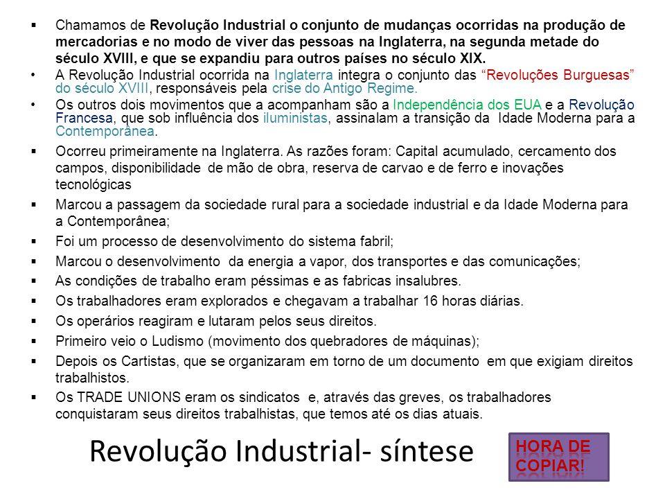 Revolução Industrial- síntese  Chamamos de Revolução Industrial o conjunto de mudanças ocorridas na produção de mercadorias e no modo de viver das pe