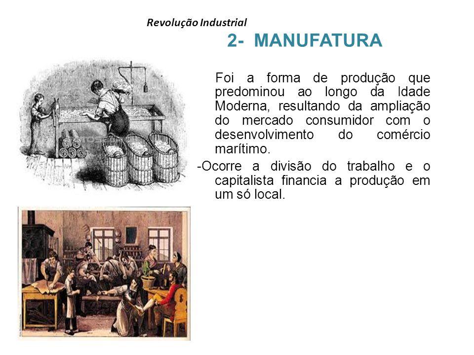Revolução Industrial 2- MANUFATURA Foi a forma de produção que predominou ao longo da Idade Moderna, resultando da ampliação do mercado consumidor com
