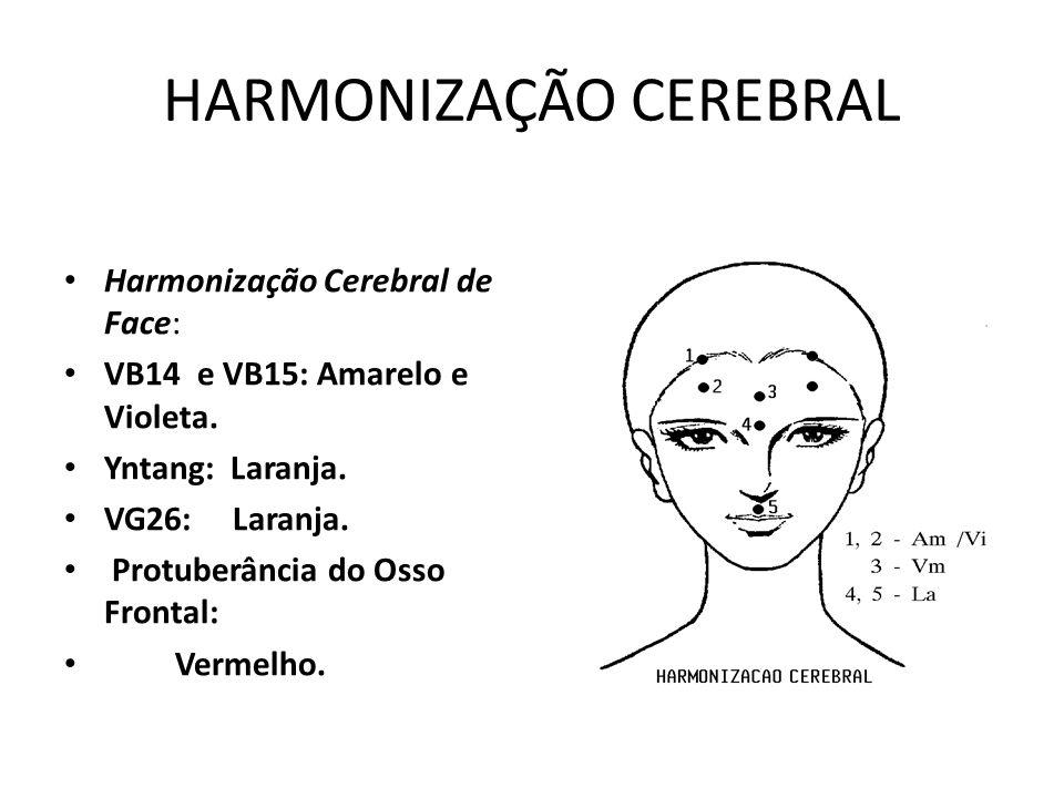 HARMONIZAÇÃO CEREBRAL • Harmonização Cerebral de Face: • VB14 e VB15: Amarelo e Violeta. • Yntang: Laranja. • VG26: Laranja. • Protuberância do Osso F