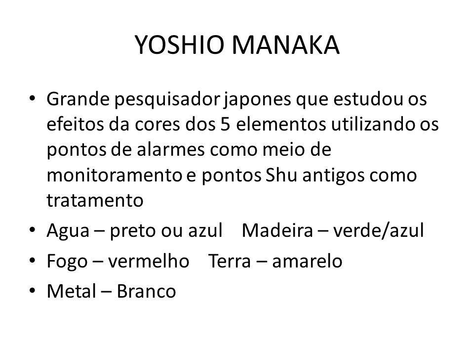 YOSHIO MANAKA • Grande pesquisador japones que estudou os efeitos da cores dos 5 elementos utilizando os pontos de alarmes como meio de monitoramento