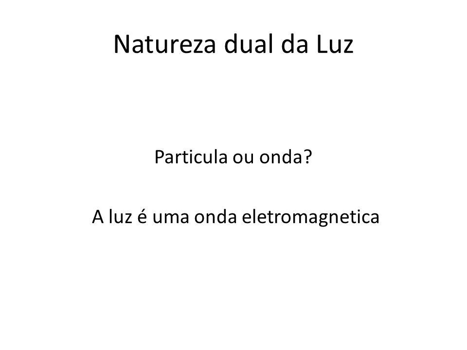 Natureza dual da Luz Particula ou onda? A luz é uma onda eletromagnetica