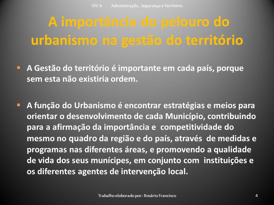 A importância do pelouro do urbanismo na gestão do território  A Gestão do território é importante em cada país, porque sem esta não existiria ordem.
