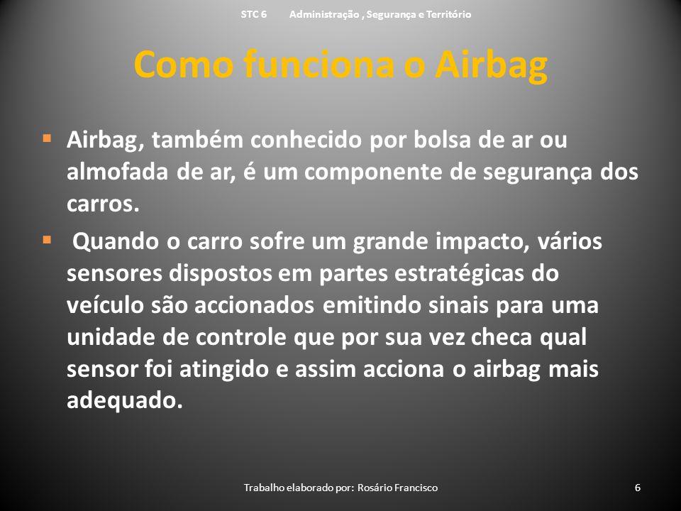 Como funciona o Airbag  Airbag, também conhecido por bolsa de ar ou almofada de ar, é um componente de segurança dos carros.