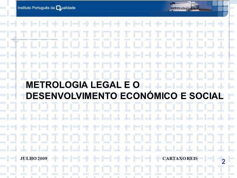 2 JULHO 2009 CARTAXO REIS METROLOGIA LEGAL E O DESENVOLVIMENTO ECONÓMICO E SOCIAL