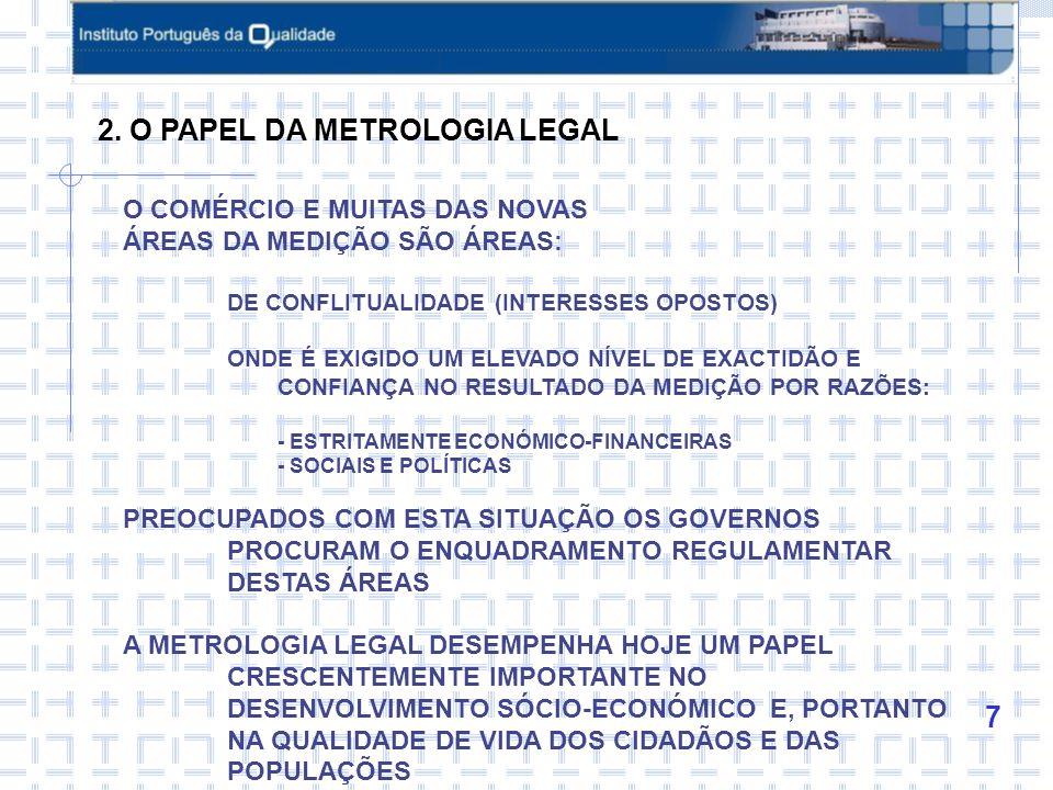 8 AS ÁREAS DE INTERVENÇÃO DA METROLOGIA LEGAL DIFEREM MUITO DE PAÍS PARA PAÍS DEPENDENDO: GRAU DE DESENVOLVIMENTO ECONÓMICO E SOCIAL DO PAÍS EM CAUSA DO IMPACTO DA MEDIÇÃO NA ECONOMIA DAS PREOCUPAÇÕES QUE OS GOVERNOS REVELAM EM TERMOS DE PROTECÇÃO DO CONSUMIDOR O PAPEL DA METROLOGIA LEGAL