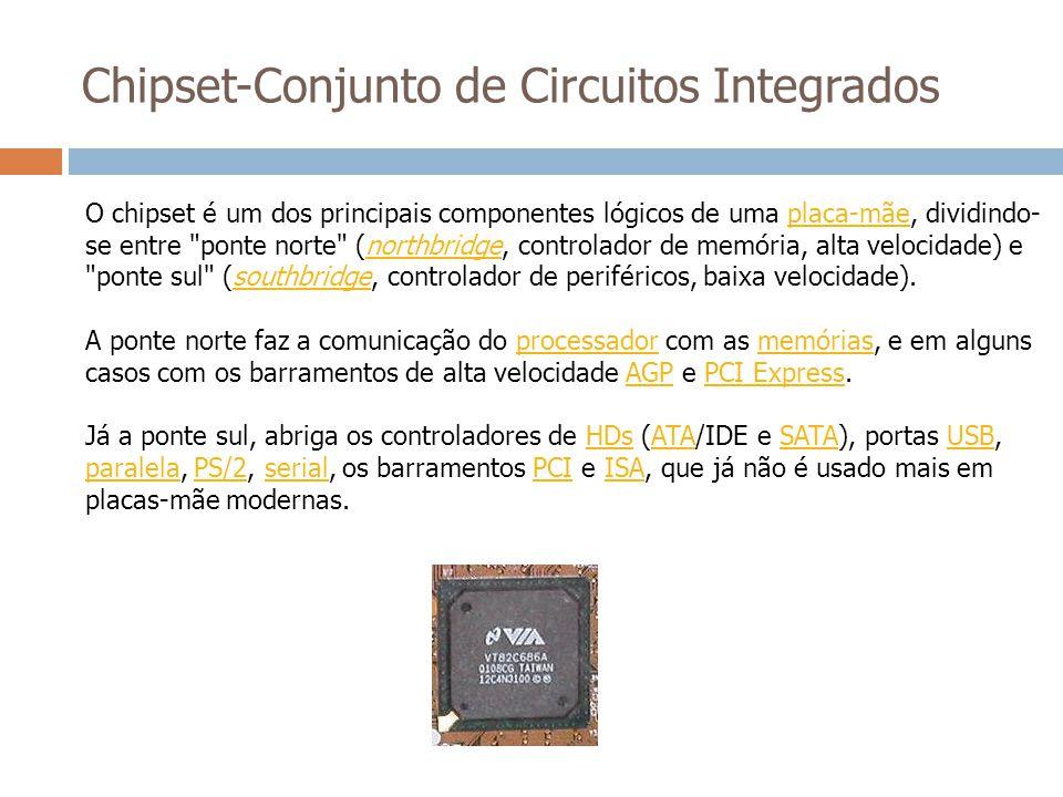 Chipset-Conjunto de Circuitos Integrados O chipset é um dos principais componentes lógicos de uma placa-mãe, dividindo- se entre