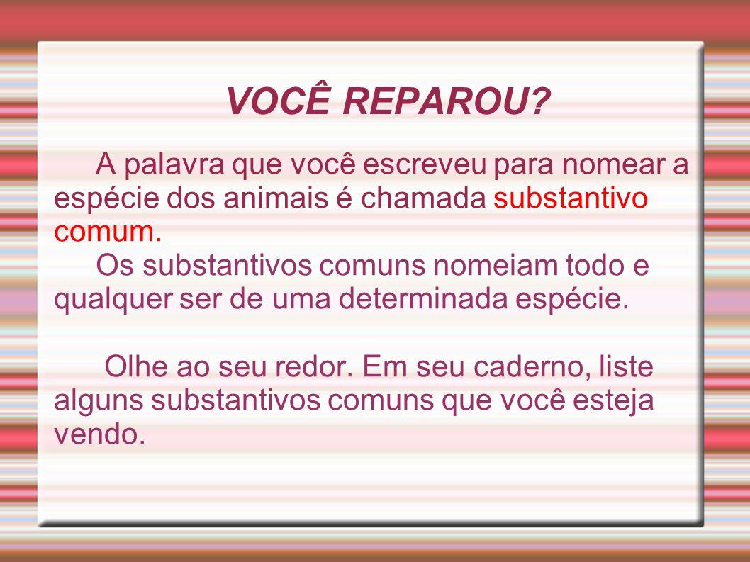 VOCÊ REPAROU? A palavra que você escreveu para nomear a espécie dos animais é chamada substantivo comum. Os substantivos comuns nomeiam todo e qualque