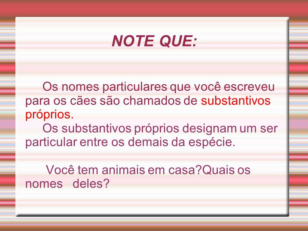 NOTE QUE: Os nomes particulares que você escreveu para os cães são chamados de substantivos próprios. Os substantivos próprios designam um ser particu