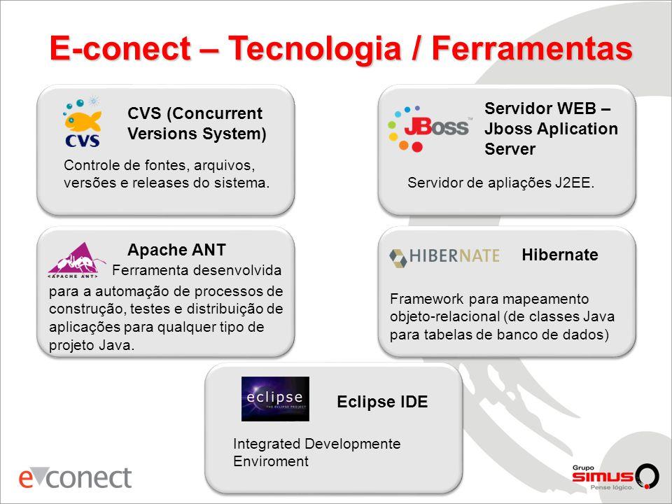 E-conect – Tecnologia / Ferramentas CVS (Concurrent Versions System) Controle de fontes, arquivos, versões e releases do sistema.