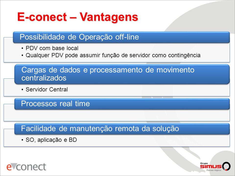 E-conect – Vantagens •PDV com base local •Qualquer PDV pode assumir função de servidor como contingência Possibilidade de Operação off-line •Servidor Central Cargas de dados e processamento de movimento centralizados Processos real time •SO, aplicação e BD Facilidade de manutenção remota da solução