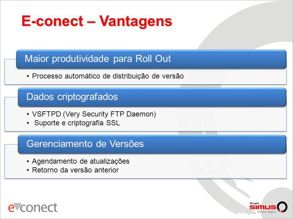 E-conect – Vantagens •Processo automático de distribuição de versão Maior produtividade para Roll Out •VSFTPD (Very Security FTP Daemon) • Suporte e criptografia SSL Dados criptografados •Agendamento de atualizações •Retorno da versão anterior Gerenciamento de Versões