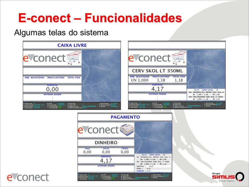 E-conect – Funcionalidades Algumas telas do sistema