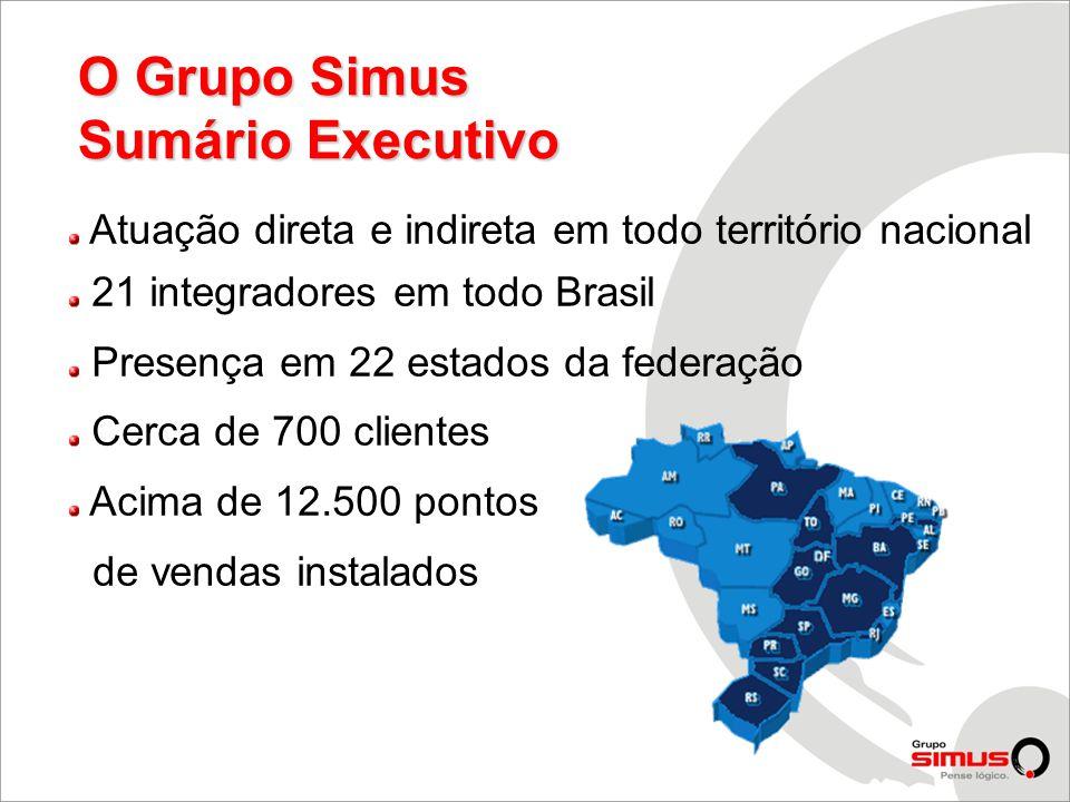 Atuação direta e indireta em todo território nacional 21 integradores em todo Brasil Presença em 22 estados da federação Cerca de 700 clientes Acima de 12.500 pontos de vendas instalados O Grupo Simus Sumário Executivo