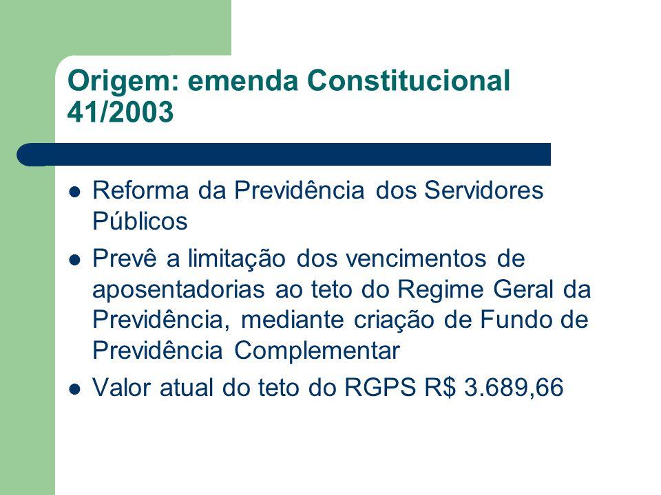 Origem: emenda Constitucional 41/2003  Reforma da Previdência dos Servidores Públicos  Prevê a limitação dos vencimentos de aposentadorias ao teto d
