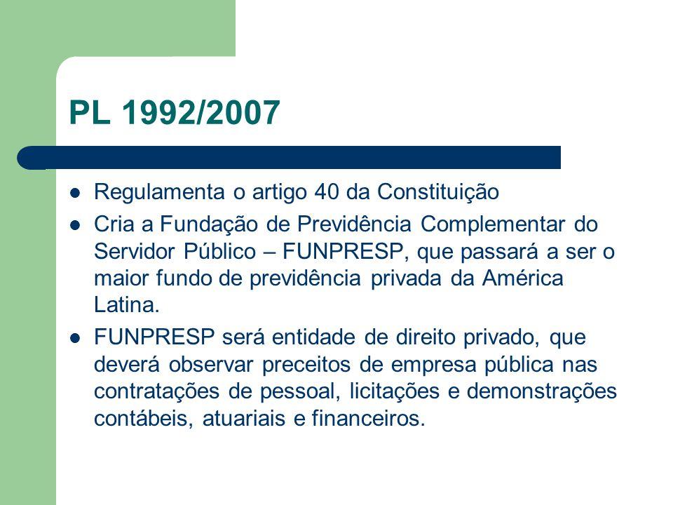 PL 1992/2007  Regulamenta o artigo 40 da Constituição  Cria a Fundação de Previdência Complementar do Servidor Público – FUNPRESP, que passará a ser