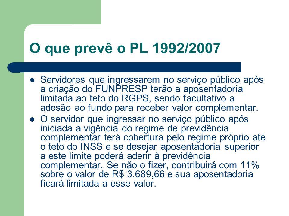 O que prevê o PL 1992/2007  Servidores que ingressarem no serviço público após a criação do FUNPRESP terão a aposentadoria limitada ao teto do RGPS,