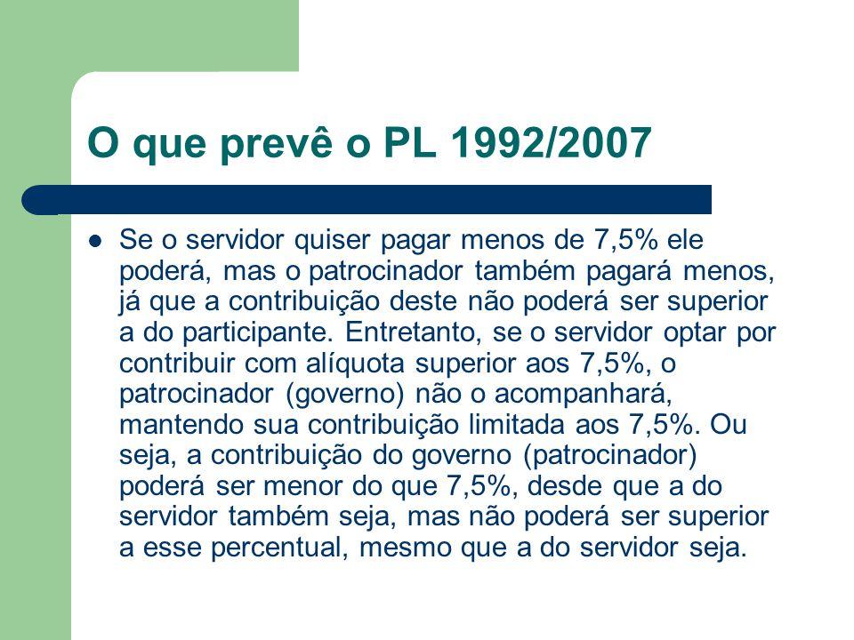 O que prevê o PL 1992/2007  Se o servidor quiser pagar menos de 7,5% ele poderá, mas o patrocinador também pagará menos, já que a contribuição deste