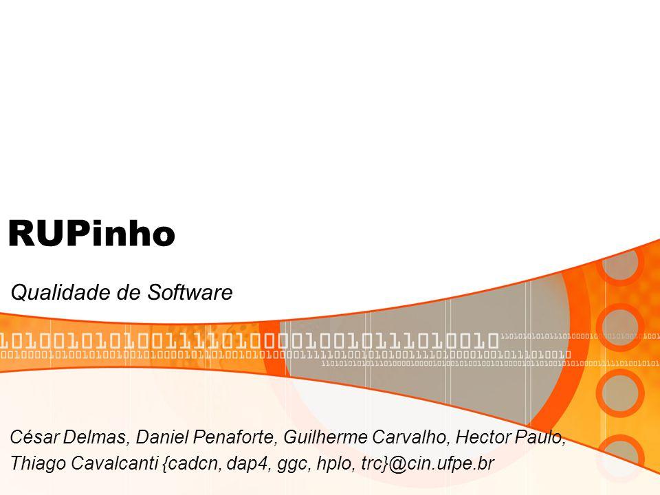 RUPinho Qualidade de Software César Delmas, Daniel Penaforte, Guilherme Carvalho, Hector Paulo, Thiago Cavalcanti {cadcn, dap4, ggc, hplo, trc}@cin.ufpe.br
