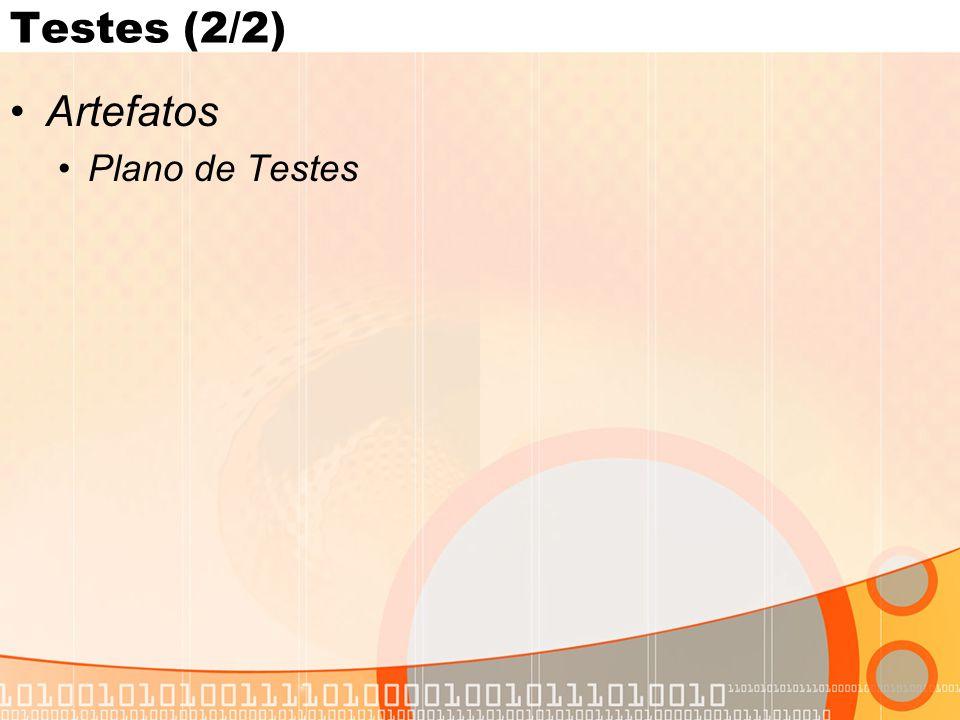 Testes (2/2) •Artefatos •Plano de Testes