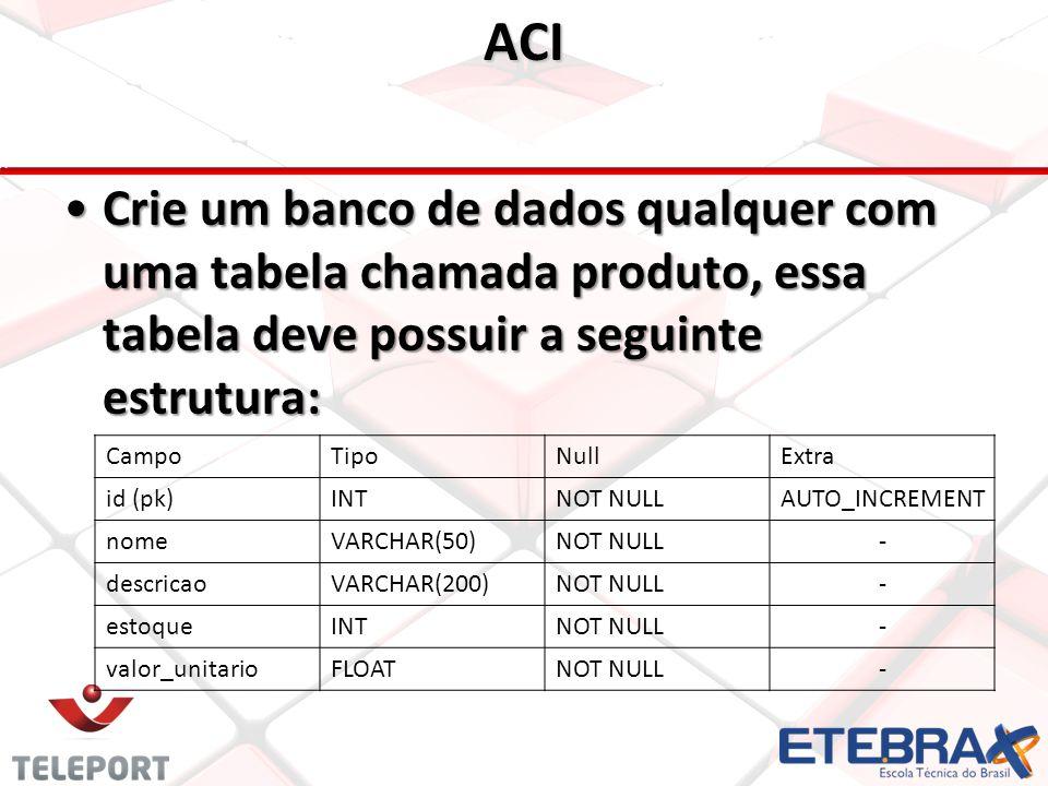 ACI •Crie um banco de dados qualquer com uma tabela chamada produto, essa tabela deve possuir a seguinte estrutura: CampoTipoNullExtra id (pk)INTNOT NULLAUTO_INCREMENT nomeVARCHAR(50)NOT NULL- descricaoVARCHAR(200)NOT NULL- estoqueINTNOT NULL- valor_unitarioFLOATNOT NULL-