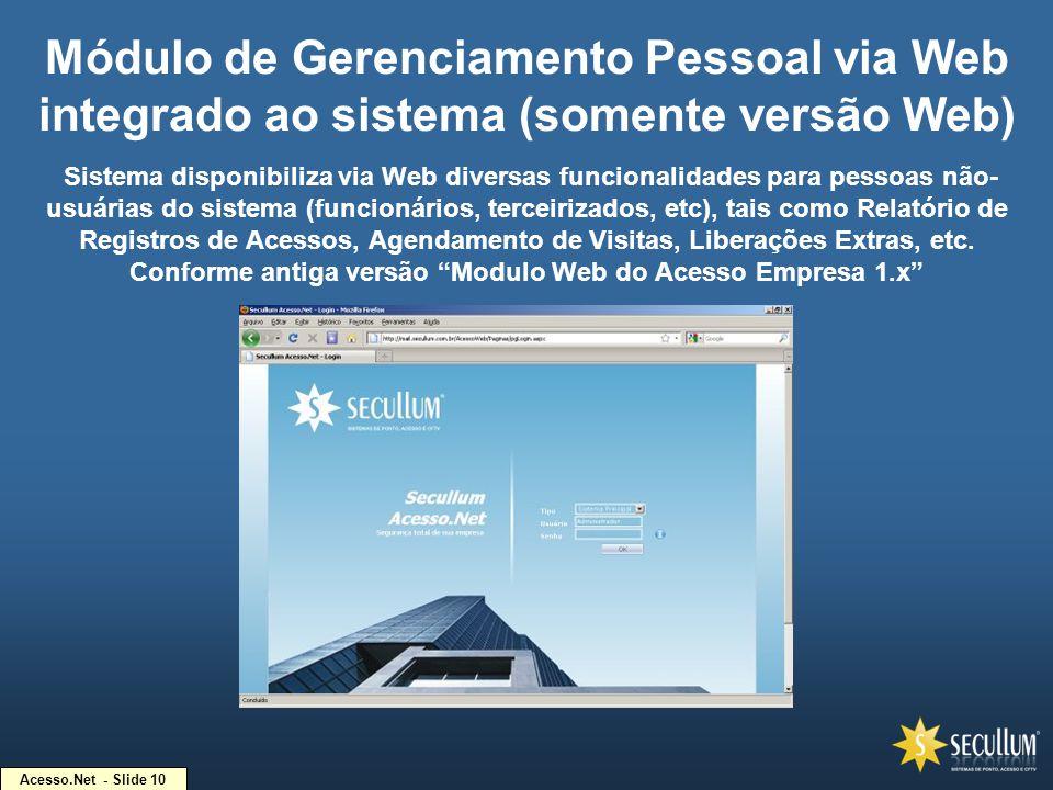 Acesso.Net - Slide 10 Módulo de Gerenciamento Pessoal via Web integrado ao sistema (somente versão Web) Sistema disponibiliza via Web diversas funcion