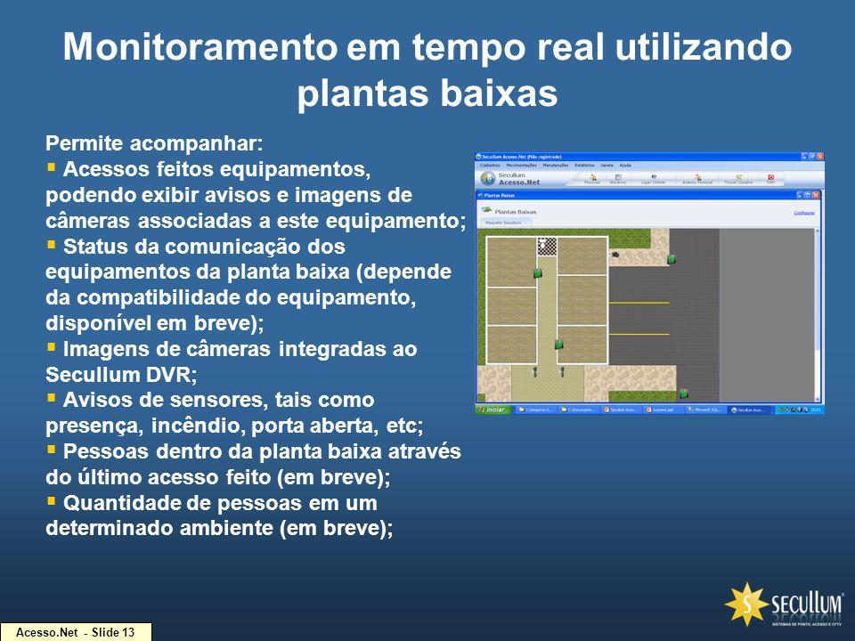 Acesso.Net - Slide 13 Monitoramento em tempo real utilizando plantas baixas Permite acompanhar:  Acessos feitos equipamentos, podendo exibir avisos e