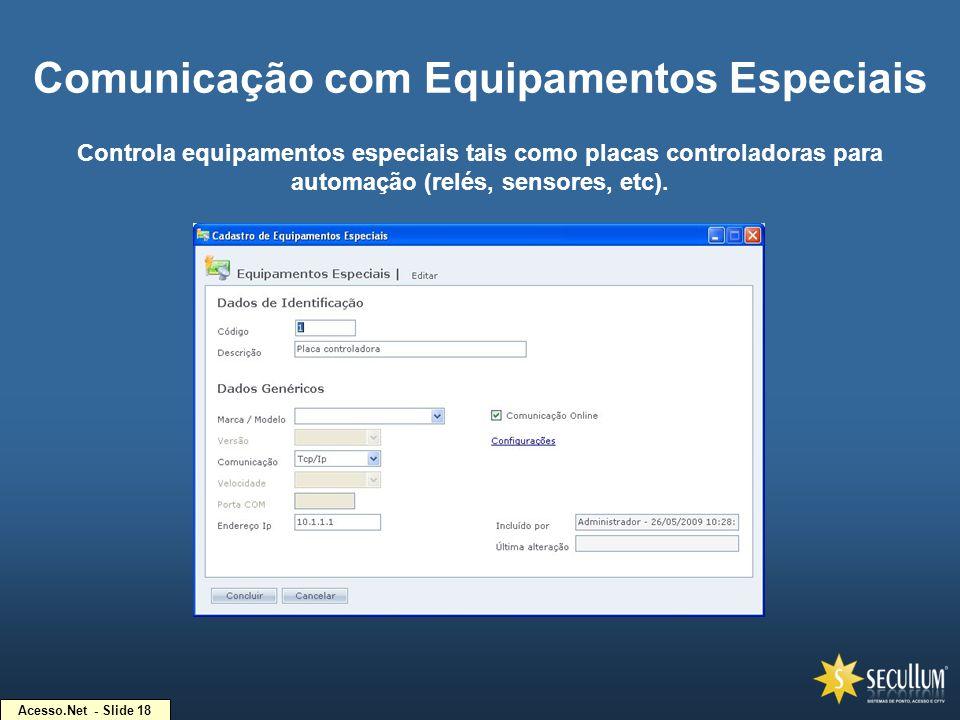 Acesso.Net - Slide 18 Comunicação com Equipamentos Especiais Controla equipamentos especiais tais como placas controladoras para automação (relés, sen