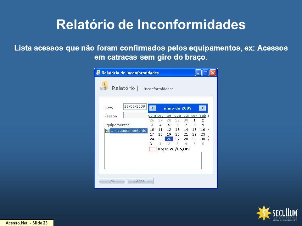 Acesso.Net - Slide 23 Relatório de Inconformidades Lista acessos que não foram confirmados pelos equipamentos, ex: Acessos em catracas sem giro do bra