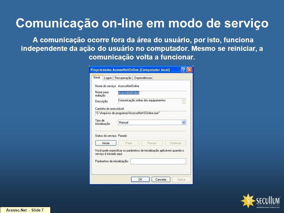 Acesso.Net - Slide 7 Comunicação on-line em modo de serviço A comunicação ocorre fora da área do usuário, por isto, funciona independente da ação do u