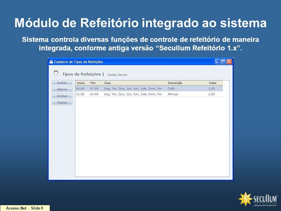 Acesso.Net - Slide 8 Módulo de Refeitório integrado ao sistema Sistema controla diversas funções de controle de refeitório de maneira integrada, confo