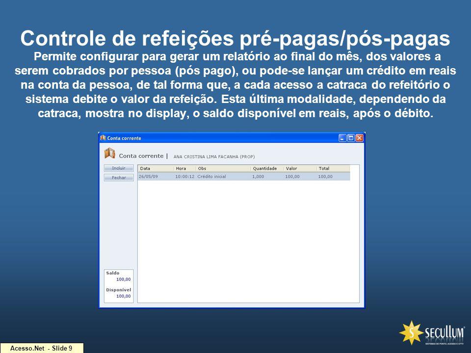 Acesso.Net - Slide 9 Controle de refeições pré-pagas/pós-pagas Permite configurar para gerar um relatório ao final do mês, dos valores a serem cobrado
