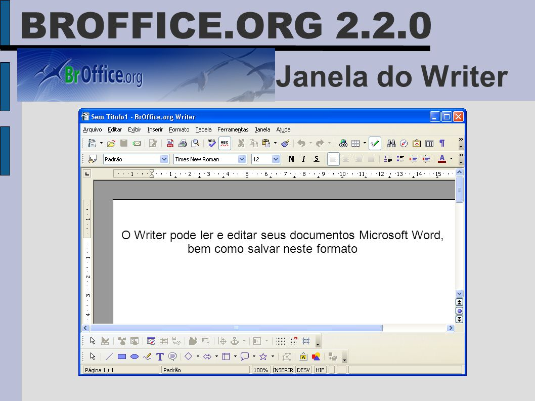 Janela do Writer O Writer pode ler e editar seus documentos Microsoft Word, bem como salvar neste formato BROFFICE.ORG 2.2.0