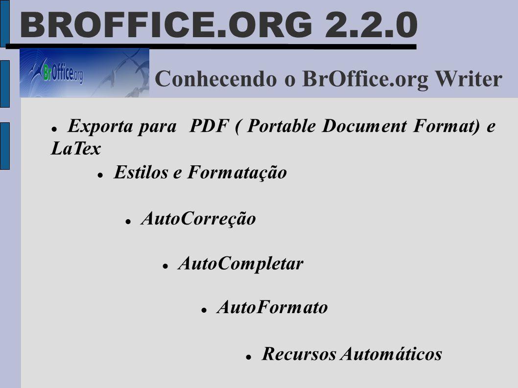 Conhecendo o BrOffice.org Writer  Exporta para PDF ( Portable Document Format) e LaTex  Estilos e Formatação  AutoCorreção  AutoCompletar  AutoFo