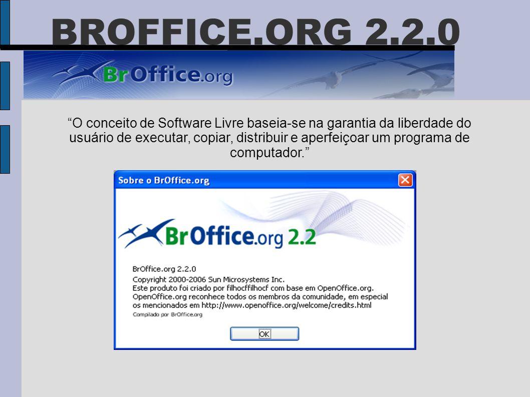 """BROFFICE.ORG 2.2.0 """"O conceito de Software Livre baseia-se na garantia da liberdade do usuário de executar, copiar, distribuir e aperfeiçoar um progra"""