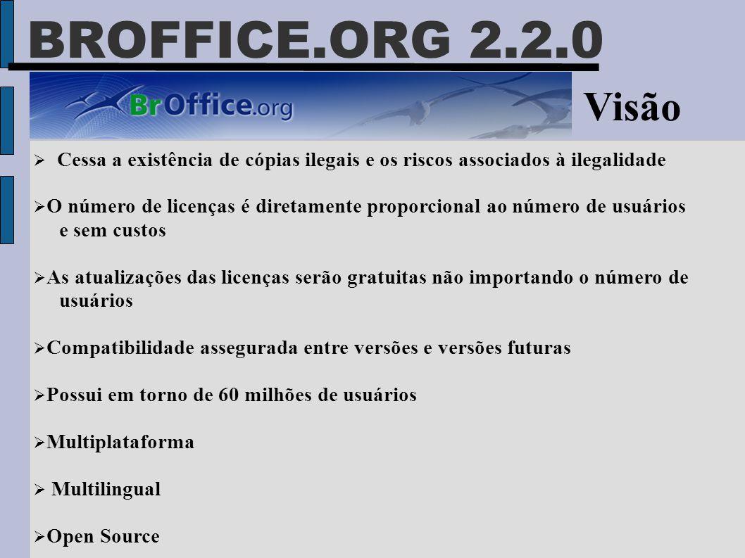 BROFFICE.ORG 2.2.0 Visão  Cessa a existência de cópias ilegais e os riscos associados à ilegalidade  O número de licenças é diretamente proporcional